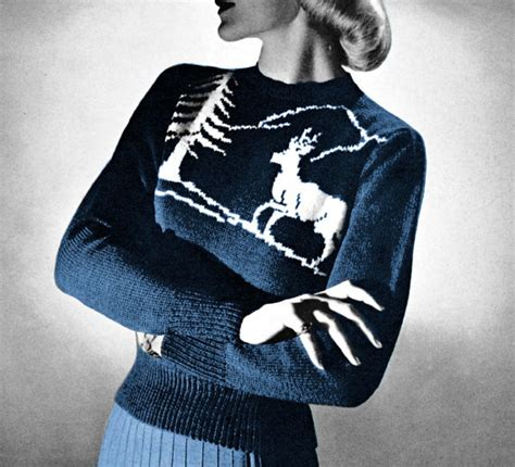knitting pattern reindeer jumper vintage knitting pattern reindeer ski sweater by