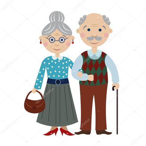 imagenes de amor de viejitos animados abuelos felices de dibujos animados vector de stock