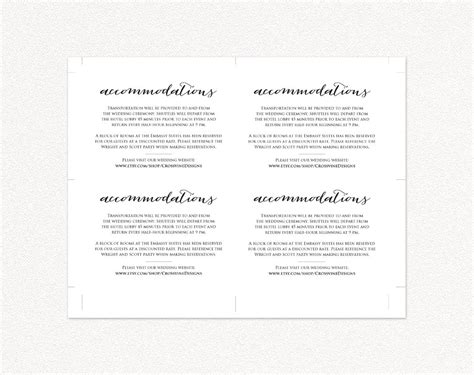 wedding accommodation cards template wedding accommodations card insert diy wedding templates