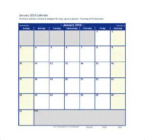Monthly Calendar Template Excel by Monthly Calendar Template Temp 2016blankmonthlycalendar