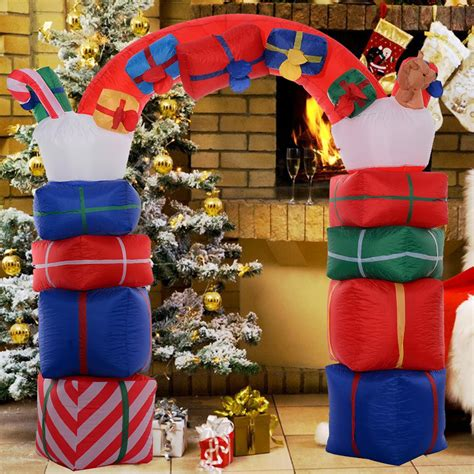 2 4m inflatable gift box arch christmas decoration lawn