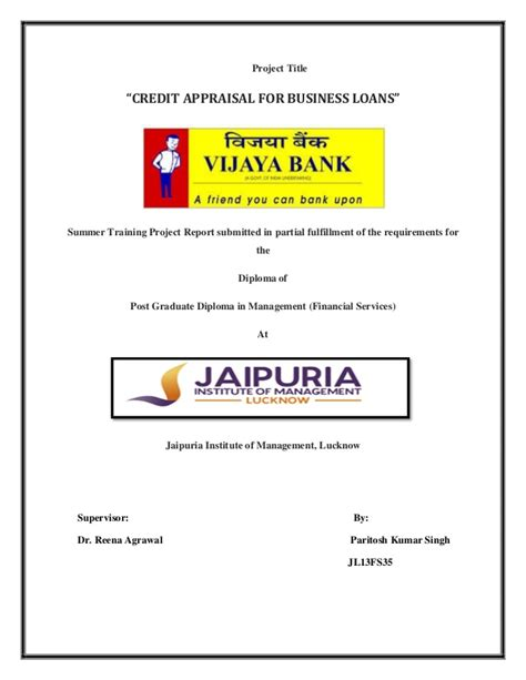 vijaya bank house loan vijaya bank project report