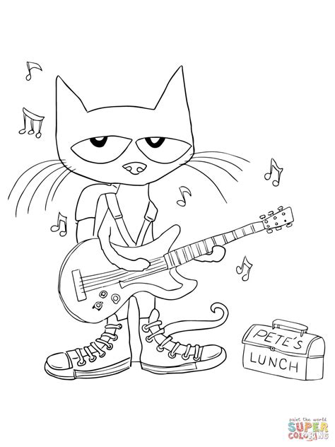 pete  cat rocking   school shoes coloring page