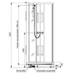 cabine de 90x90 cm acc 232 s par porte pivotante