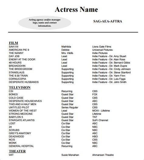 Actor Resume Template by 11 Acting Resume Templates Free Sles Exles