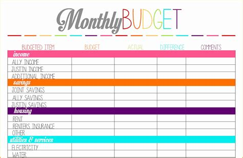 free printable 2016 budget planner free printable household expense worksheet expense