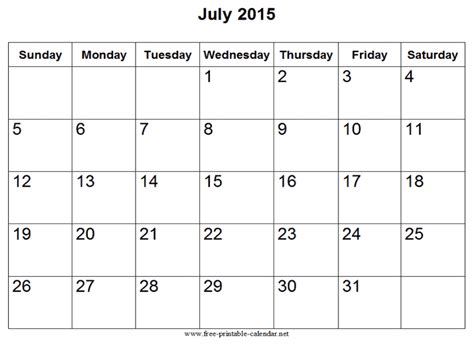 printable weekly calendar july 2015 july 2015 calendar printable