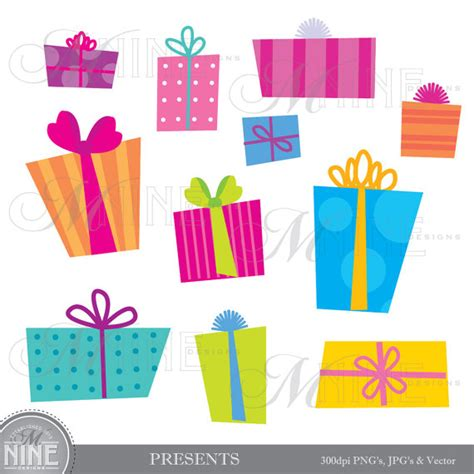 gifts clip presents digital clipart gifts clip graphics vector file