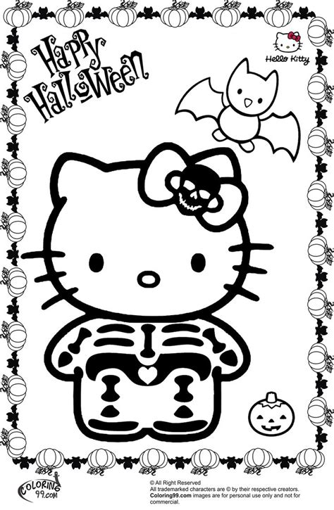 kitty halloween skeleton coloring pages color