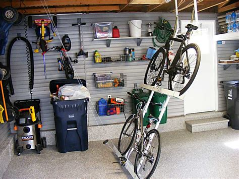 garage bike storage ideas with overhead horizontal bike