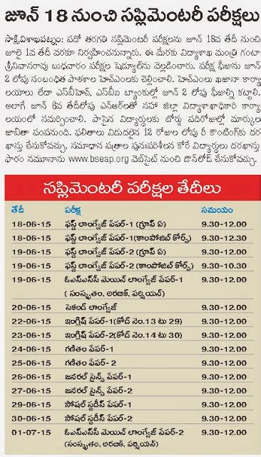 m a supplementary result 2015 ap 10th class supplementary time table 2015 ednewz