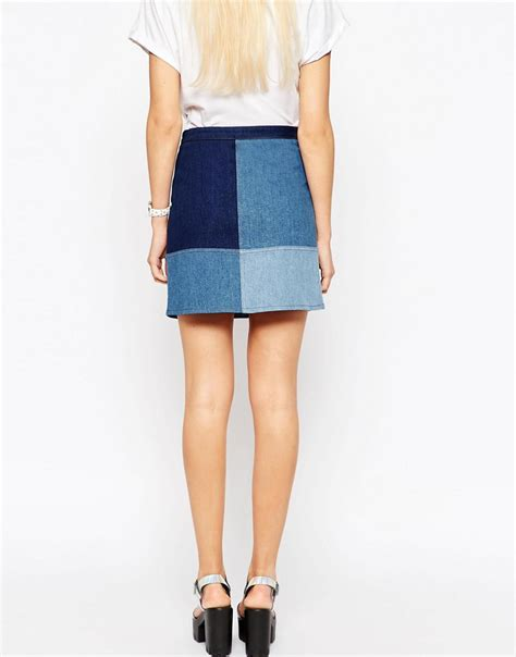 asos asos denim patchwork a line mini skirt at asos