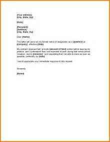 Resignation Request Letter Sle by 5 Resignation Letter Sle One Month Notice Expense Report