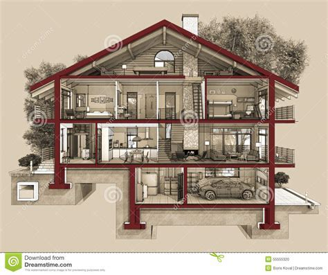 3d Section Of A Country House Stock Illustration