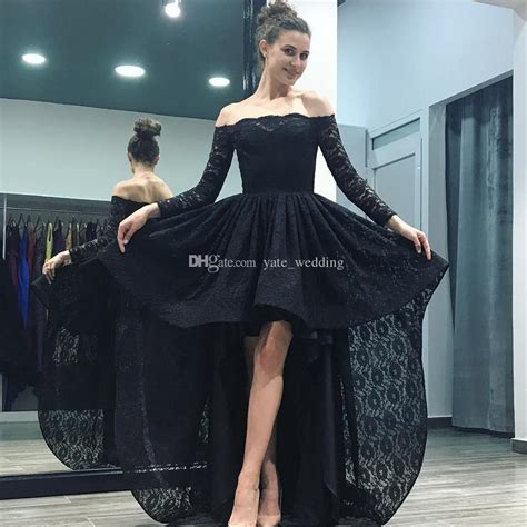 black lace high  prom dresses  shoulder long sleeves