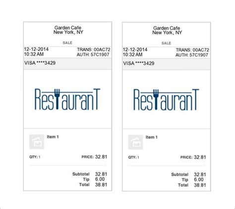 Restaurant Receipt Template Doc by Restaurant Receipt Template 12 Free Sle Exle
