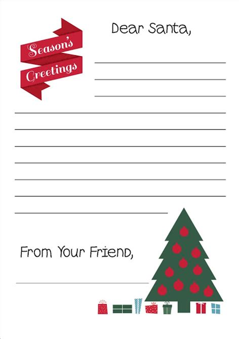 santa writing paper free printable letter to santa writing paper
