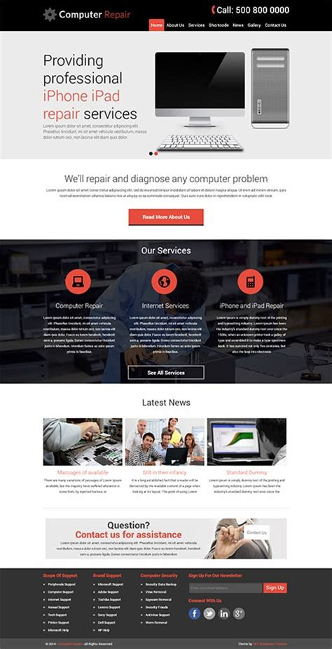 wordpress themes for computer institute high tech computer repair wordpress theme for pc repair