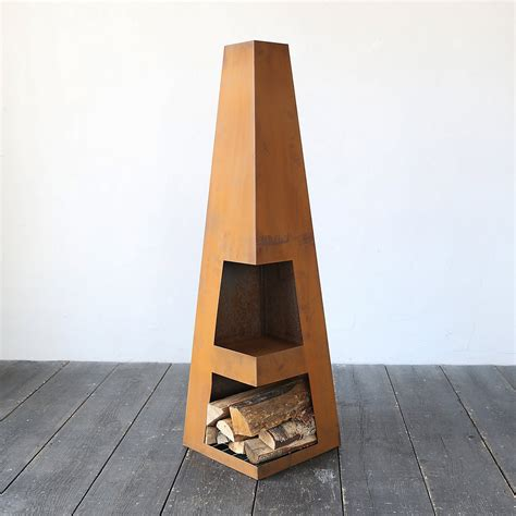 Designer Chiminea Weathering Steel Obelisk Chiminea So That S Cool