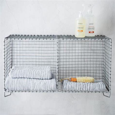 west elm bathroom storage wire mesh storage hanging double shelf west elm