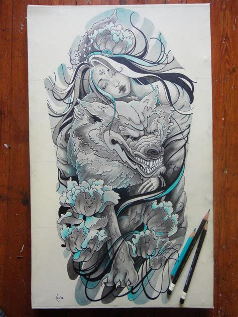 fantasy sleeve tattoo designs a beautiful holds wolf in this