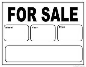 free templates for signs printable car for sale sign
