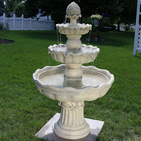 sunnydaze  tier outdoor pineapple garden fountain