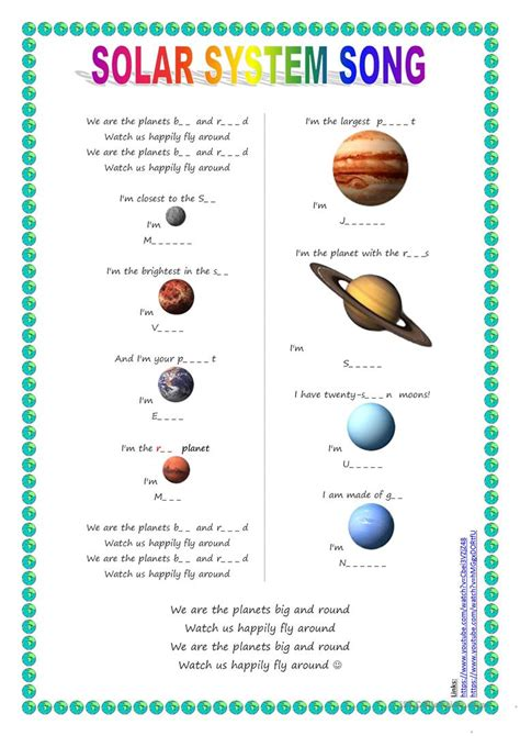 Song for kids: Planets / Solar System song worksheet