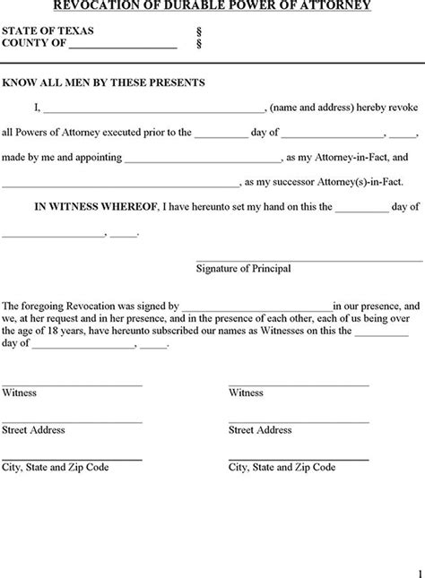 download texas power of attorney revocation form for free