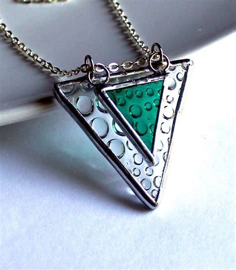 glass jewelry triangle raindrops stained glass jewelry necklace