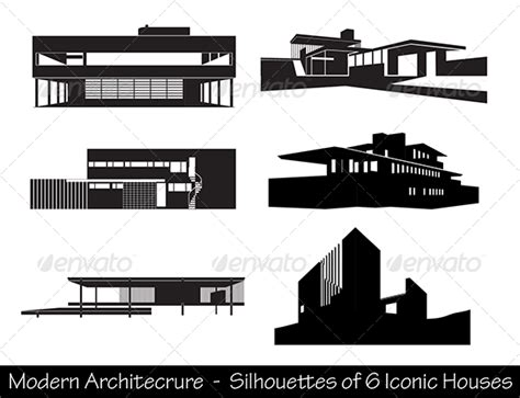 modern home design vector silhouettes of iconic modern houses graphicriver