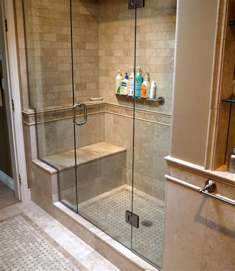 Bathroom Shower Doors Ideas Tiled Shower Enclosures With Seat Marble Inlay Tile Floor And Walls With Coordinating Slab