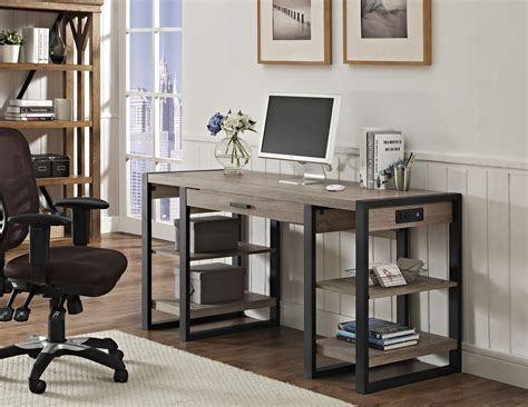 modern built in desk 60 quot modern driftwood desk with shelves built in plugs