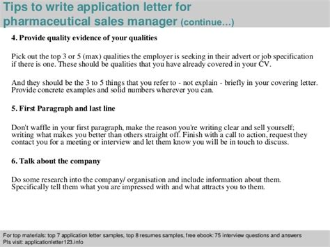 pharmaceutical sales manager application letter