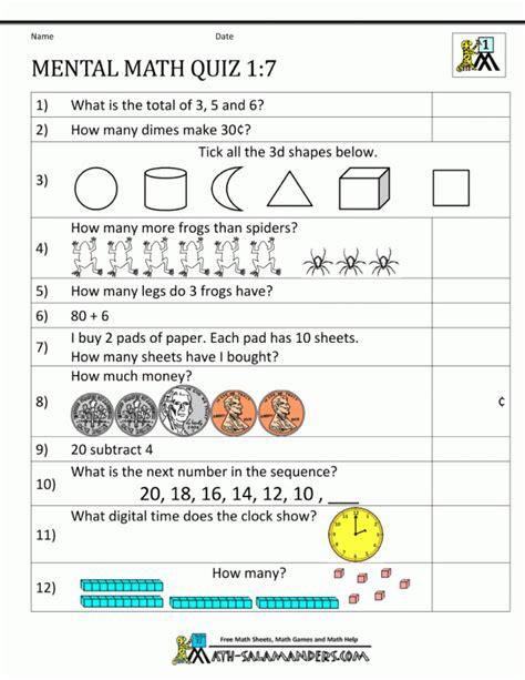 kv maths worksheets for class 1 grade mental math