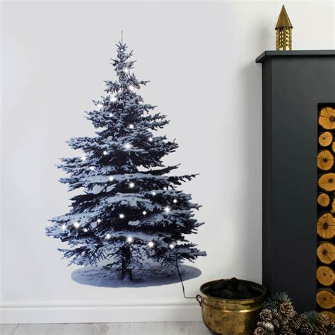 christmas tree wall sticker with lights by nutmeg