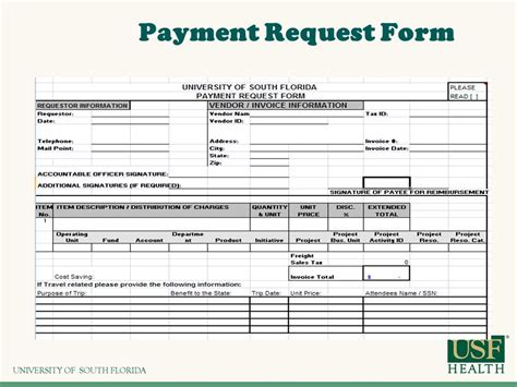 payment request form overview chart fields and forms hsc ppt