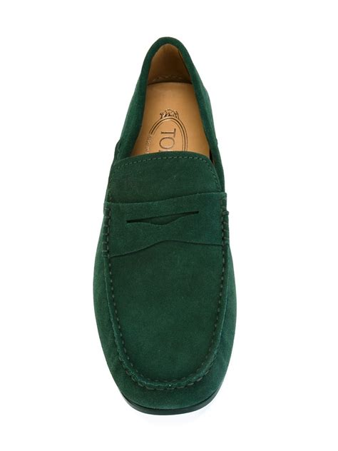 loafer shoes lyst tod s suede loafer shoes in green for