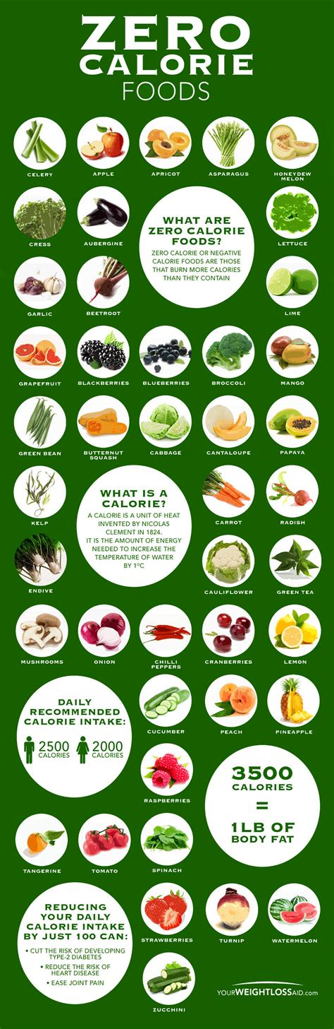 vegetables with 0 calories zero calorie food chart infographic zero calorie foods