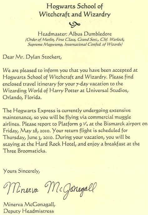 Hogwarts Acceptance Letter Universal Studios Michele S Mundane Musings Hogwarts Here We Come