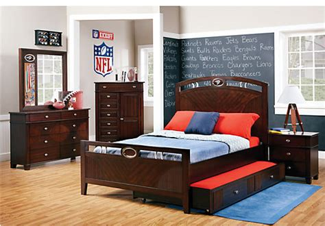bedroom furniture for boy nfl playbook 5 pc full panel bedroom bedroom sets dark wood