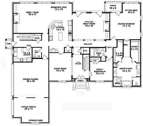 5 bedroom floor plans 2 story 653752 two story 4 bedroom 4 5 bath traditional style house plan house plans floor