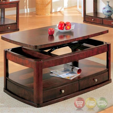 merlot coffee table with lift top and storage drawers