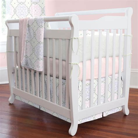 pink modern floral 3 mini crib bedding set