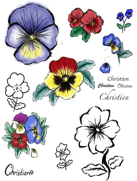 pansy flower tattoo sketch pictures to pin on pinterest
