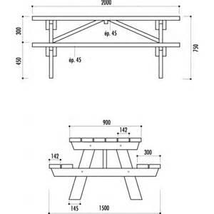 best plan table de jardin en bois avec banc integre
