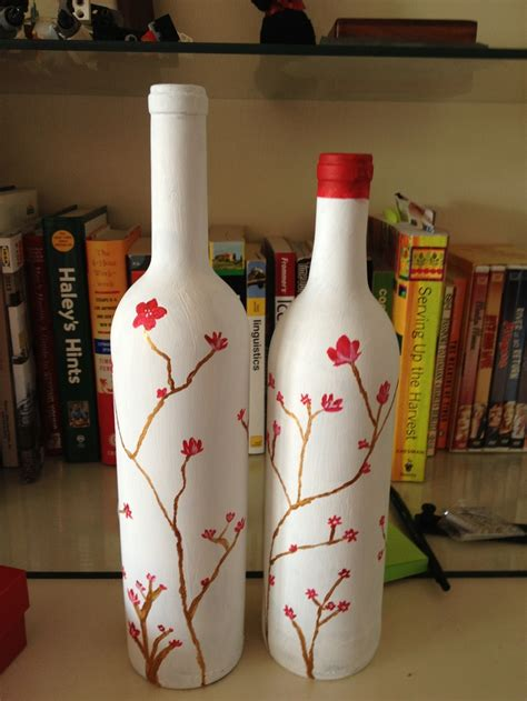 crafted hand painted wine bottles wine bottle and cork
