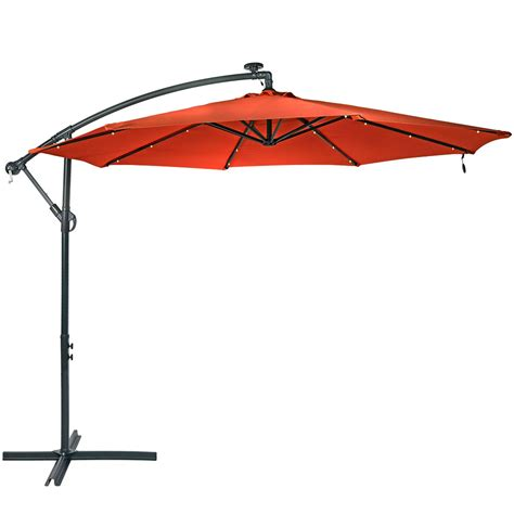 Patio Umbrella Cantilever Sunnydaze Steel Offset Solar Patio Umbrella W Cantilever Colors Ebay