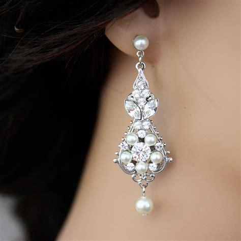 pearl and wedding earrings vintage bridal by