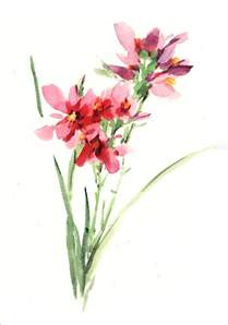 watercolor painting red orchid painting by lily lily